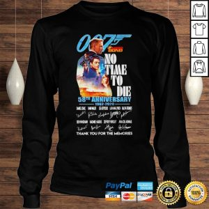 007 James Bond no time to die 58th anniversary signatures shirt Longsleeve Tee Unisex