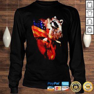 Raccoon American flag wings shirt Longsleeve Tee Unisex