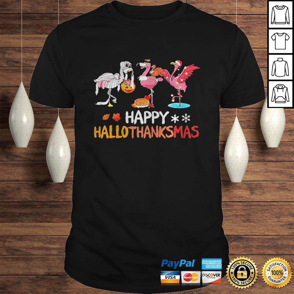 Flamingos happy hallothanksmas shirt