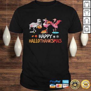 Flamingos happy hallothanksmas shirt Shirt