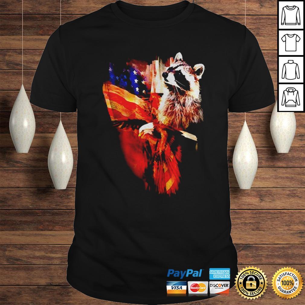 Raccoon American flag wings shirt