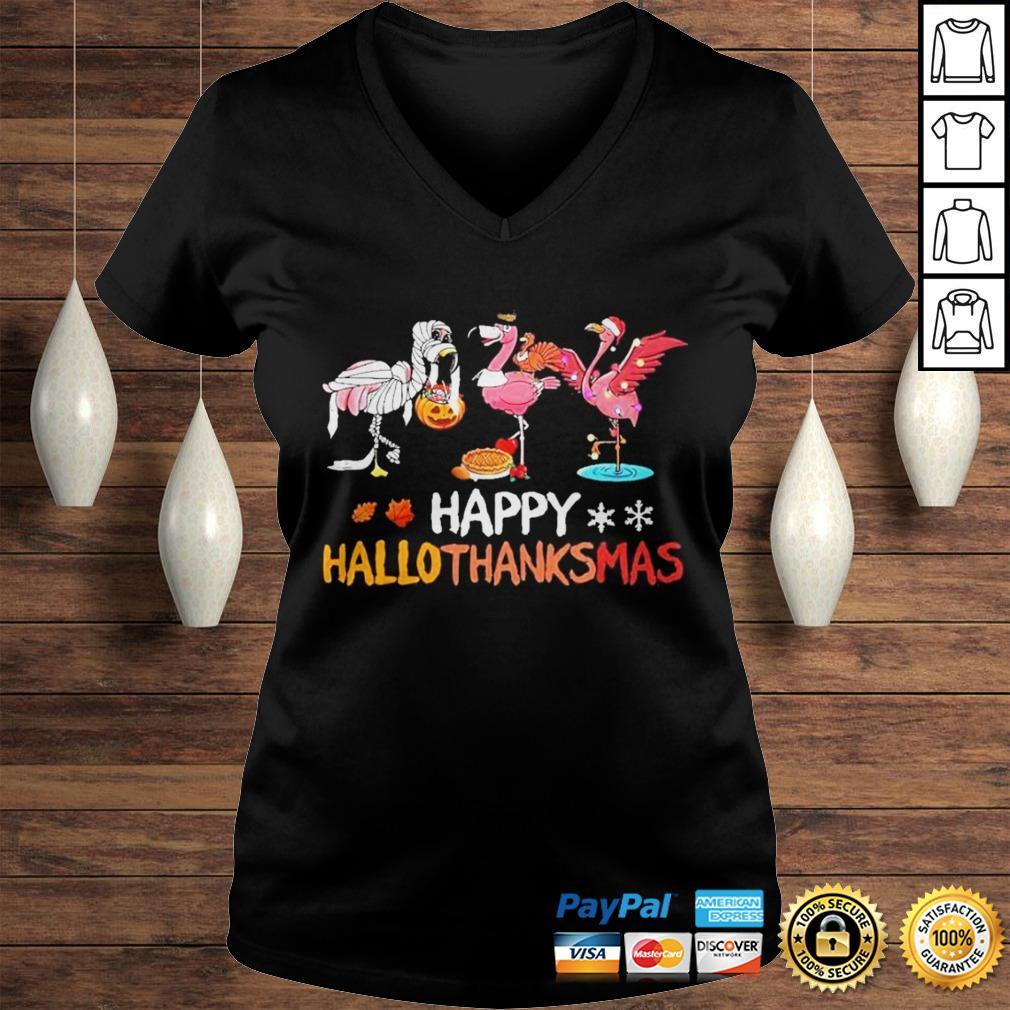 Flamingos happy hallothanksmas shirt Ladies V-Neck