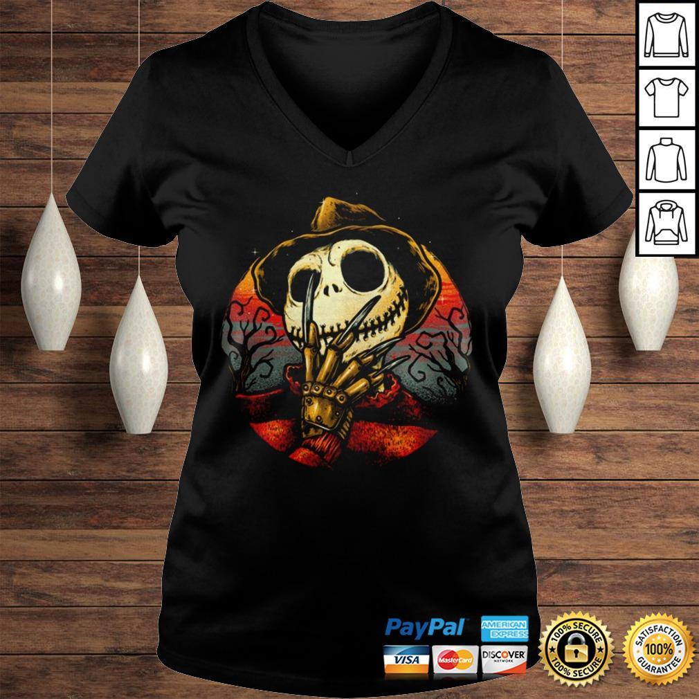 Jack Skellington Freddy Krueger Shirt Ladies V-Neck