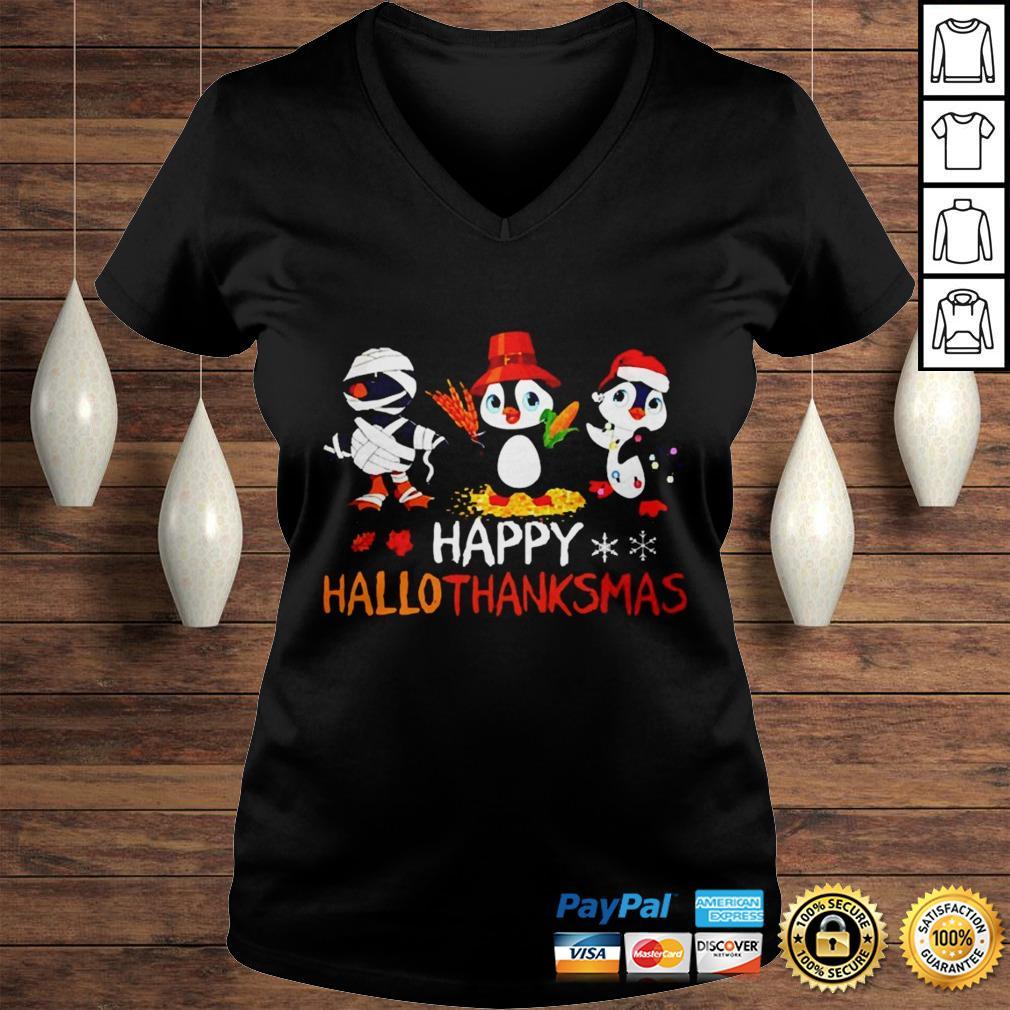 Penguin Happy Hallothanksmas Halloween Thanksgiving and Christmas shirt Ladies V-Neck