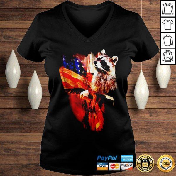 Raccoon American flag wings shirt Ladies V-Neck
