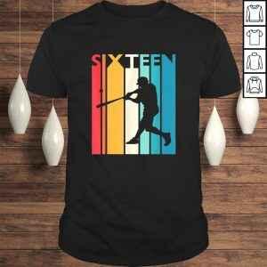 16th Birthday Gift Sixteen Vintage Baseball 16 Year Old T-shirt