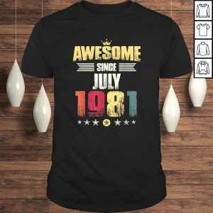 38th Birthday Party Gift Men Women, Awesome Since July 1981 Tee Shirt