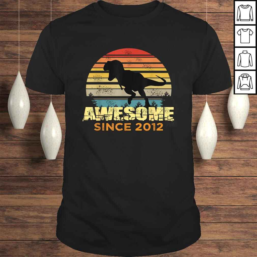 8th Birthday Dinosaur 8 Year Old Boy Awesome Since 2012 V-Neck T-Shirt