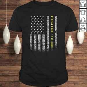 American Flag 911 Dispatcher Shirt gold line USA Flag