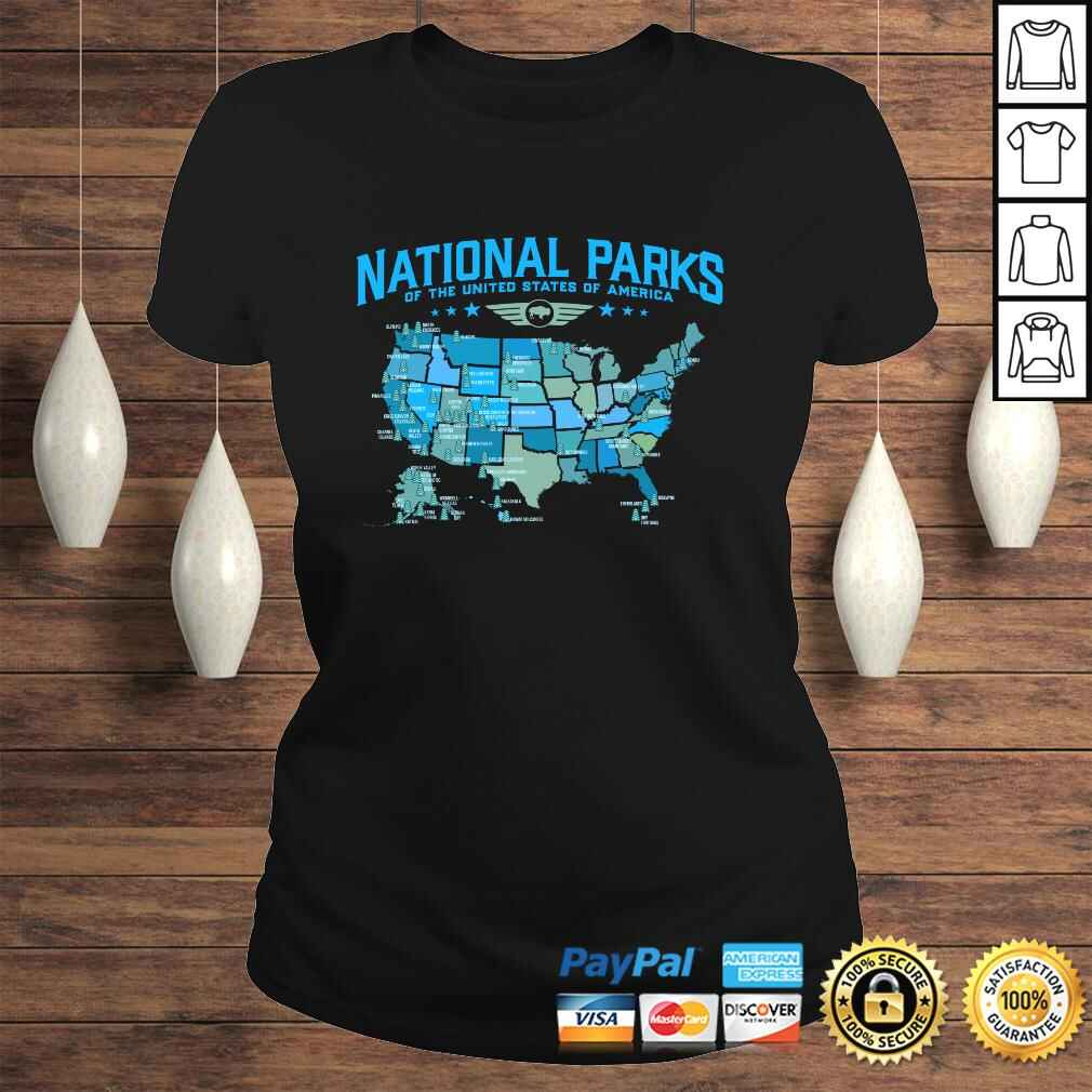 All U.S National Parks Map Camping 80s Graphic Long Sleeve TShirt Gift Classic Ladies Tee