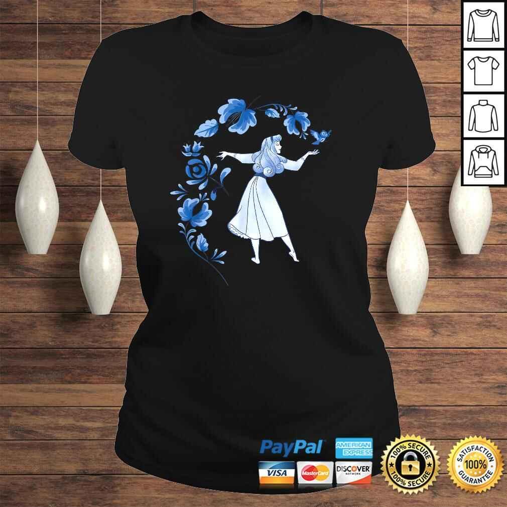 Disney Sleeping Beauty Princess Aurora Blue Flowers Tee Shirt