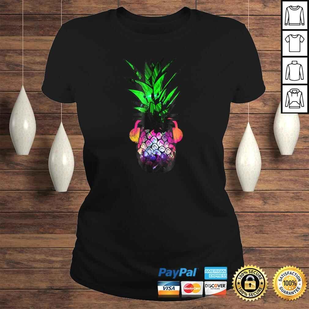 EDM Pineapple EDM Trippy Neon Rave Shirt Festival Dance Classic Ladies Tee