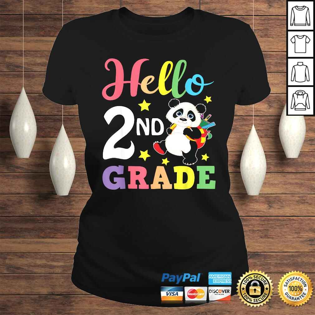 Hello 2nd Grade Cute Panda Back To School Student TShirt Classic Ladies Tee