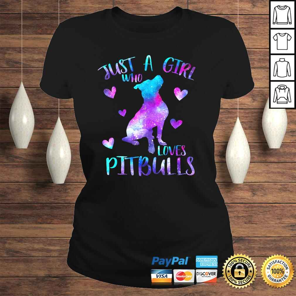 Just a Girl Who Loves Pitbulls Galaxy Space Pitbull Mom Shirt Classic Ladies Tee