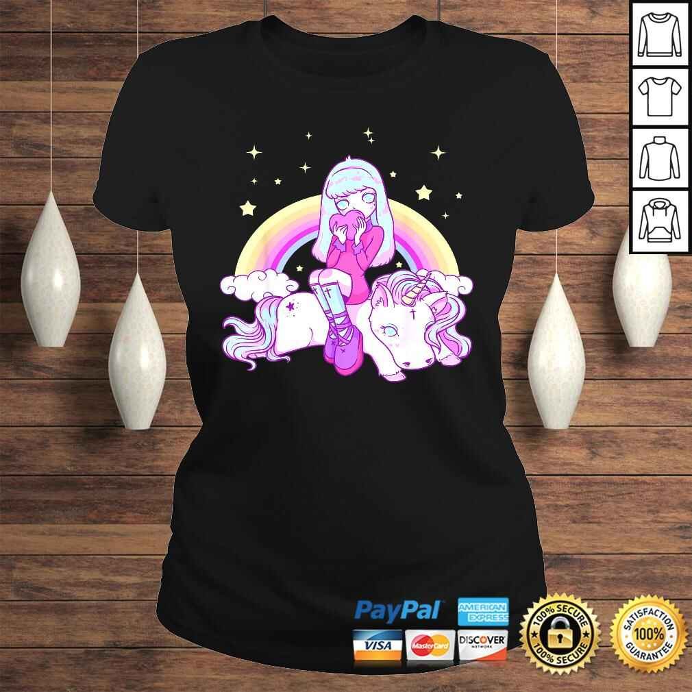 Kawaii Pastel Goth Unicorn Cute Girl Tee Shirt Classic Ladies Tee