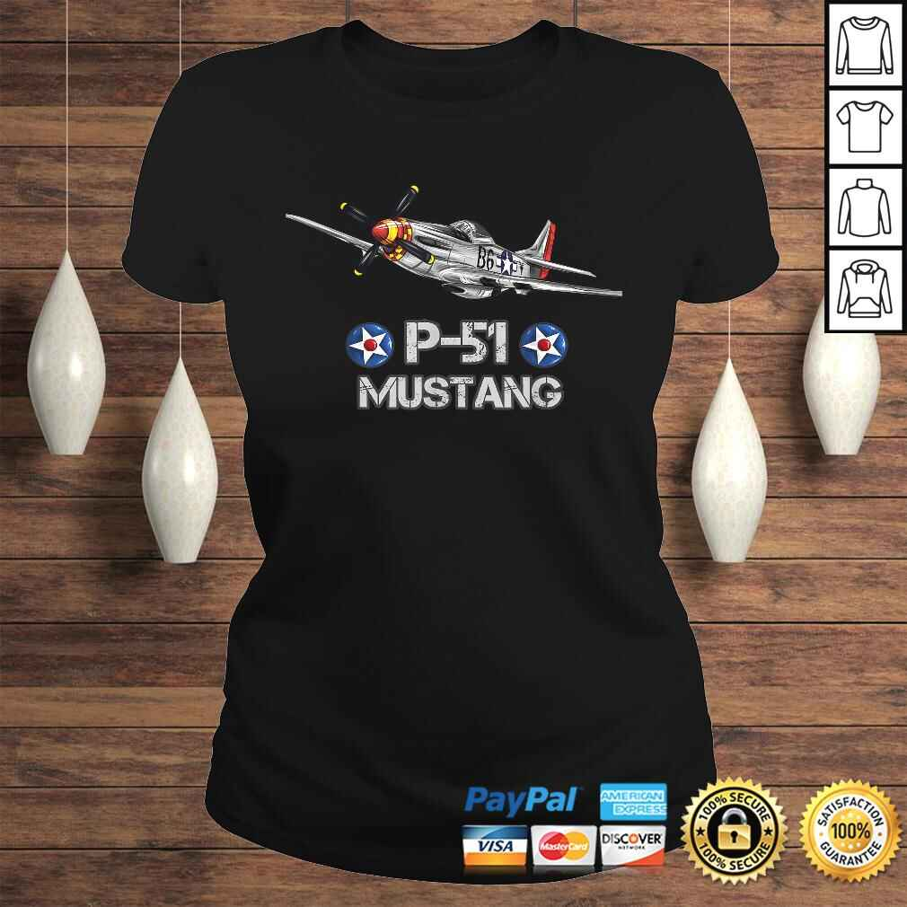 P-51 Mustang Fighter Airplane TShirt Gift Classic Ladies Tee