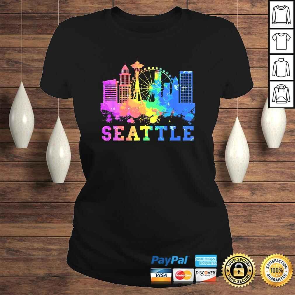 Seattle Washington Skyline Watercolor Souvenir Gift Seattle Gift Top Classic Ladies Tee