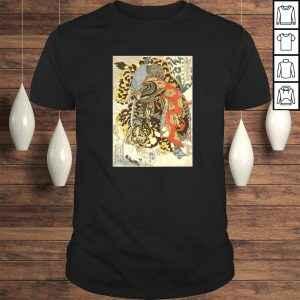 Funny Japanese Samurai General Fighting Tiger Artwork Shirt