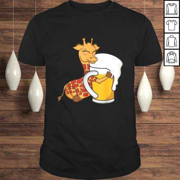 Giraffe Shirt – Cute Giraffe Hugging Beer Graphic Design Shirt