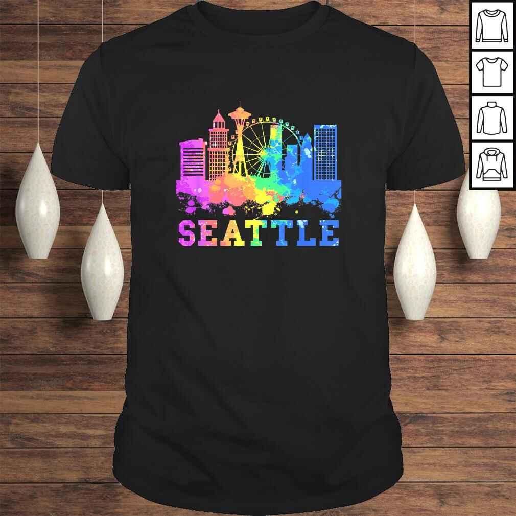 Seattle Washington Skyline Watercolor Souvenir Gift Seattle Gift Top Tee Unisex