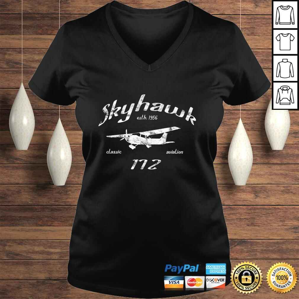 172 Skyhawk Airplane Classic Vintage Aviation Private PIlot Long Sleeve TShirt Ladies V-Neck