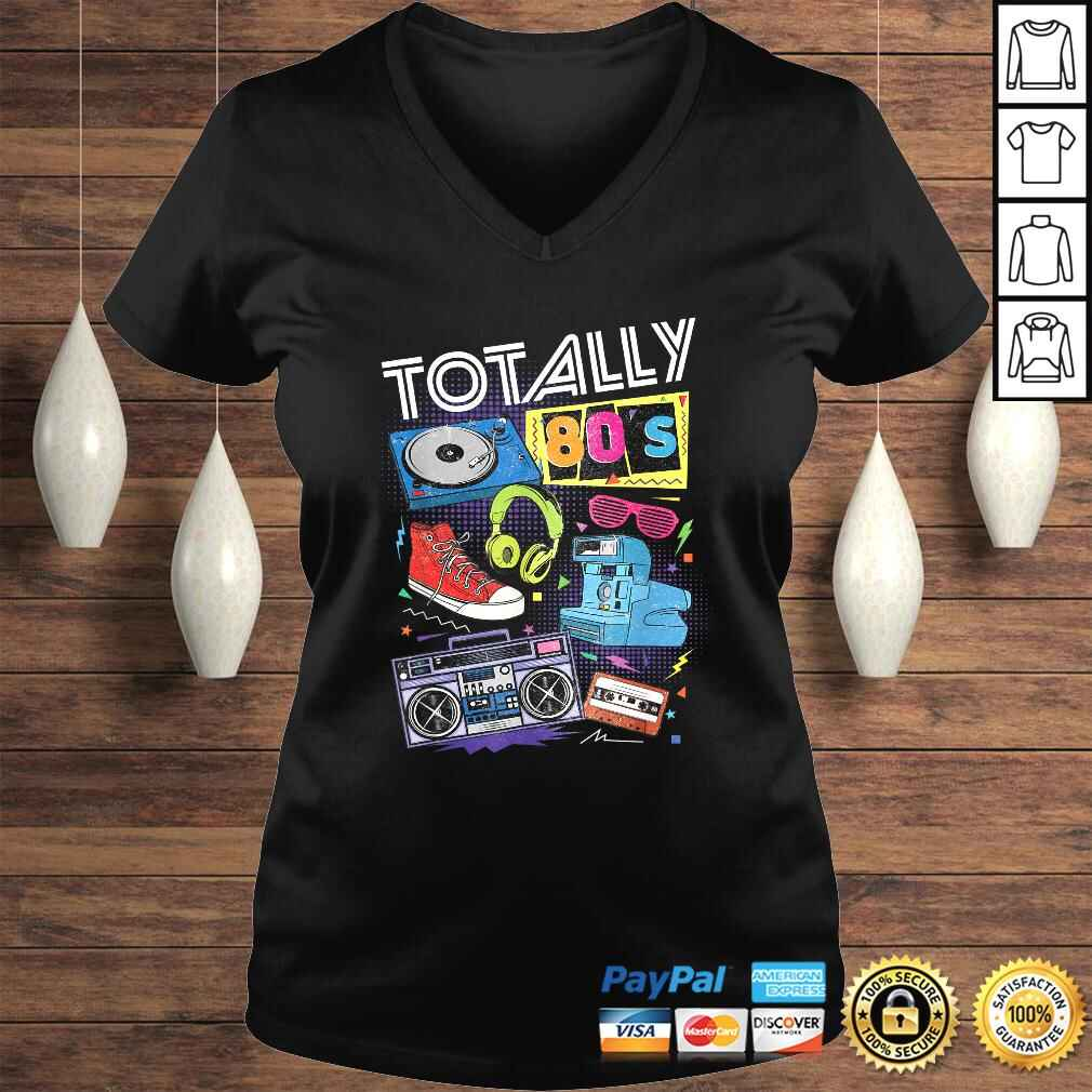 80s Retro Tee 1980s Party Gift Turntable Cassette Tee T-Shirt Ladies V-Neck