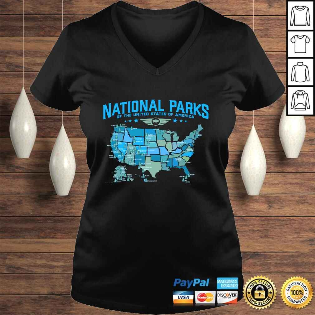 All U.S National Parks Map Camping 80s Graphic Long Sleeve TShirt Gift Ladies V-Neck