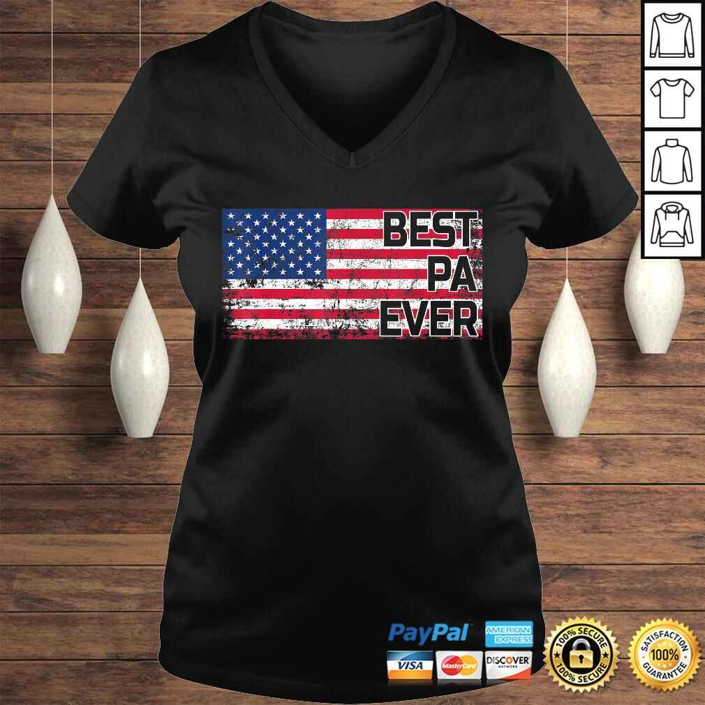 Best Pa Ever American Flag Shirt Father's Day Gift Ladies V-Neck