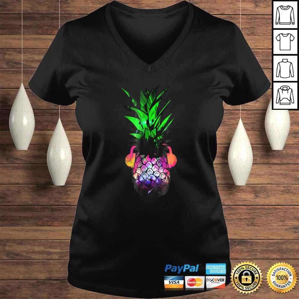 EDM Pineapple EDM Trippy Neon Rave Shirt Festival Dance Ladies V-Neck