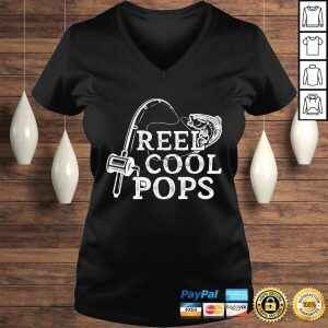 Funny Mens Vintage Reel Cool Pops Fishing Gift For Dad or Grandpa V-Neck T-Shirt