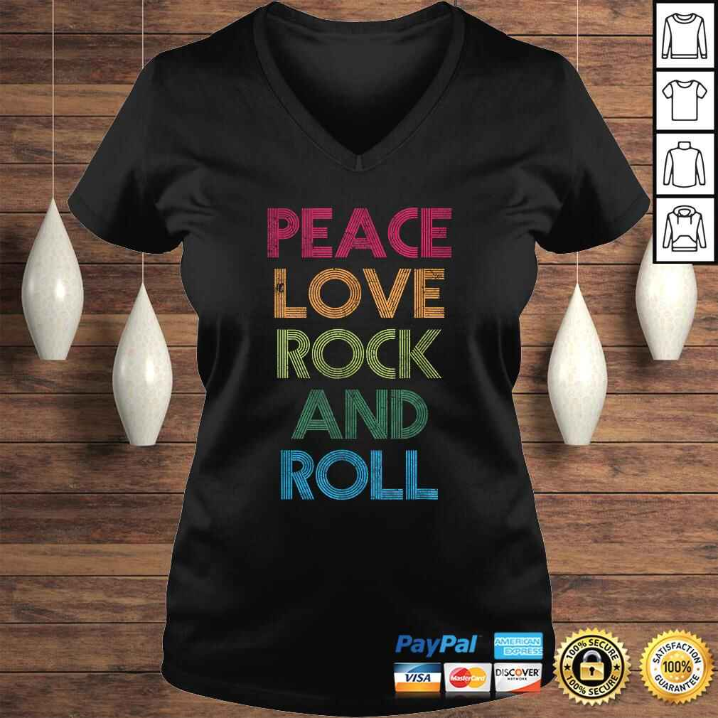 Funny Peace Love Rock And Roll, I Love Rock & Roll, Rock and Roll Shirt Ladies V-Neck