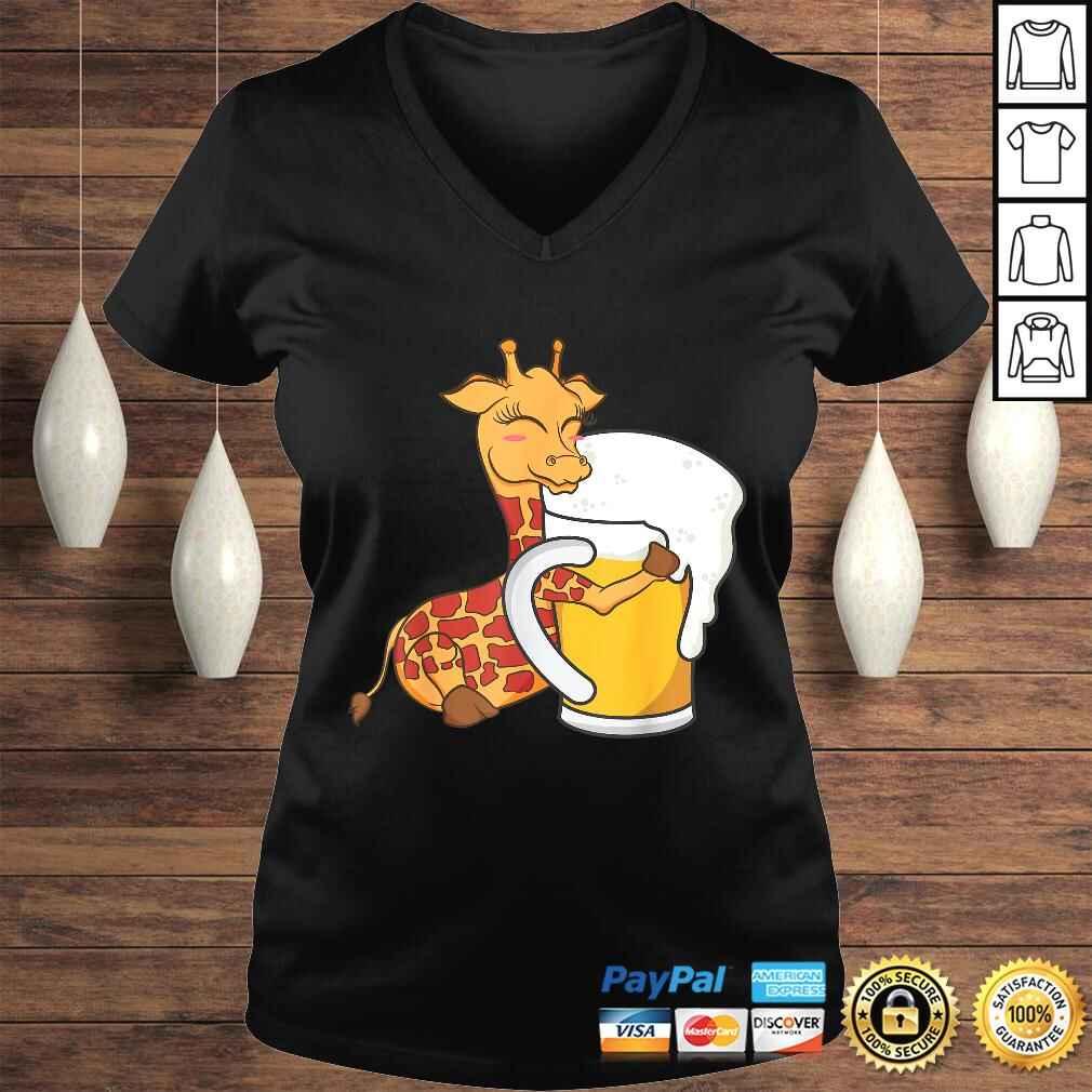 Giraffe Shirt - Cute Giraffe Hugging Beer Graphic Design Shirt