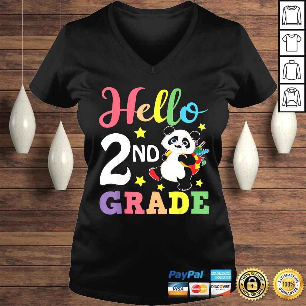 Hello 2nd Grade Cute Panda Back To School Student TShirt Ladies V-Neck
