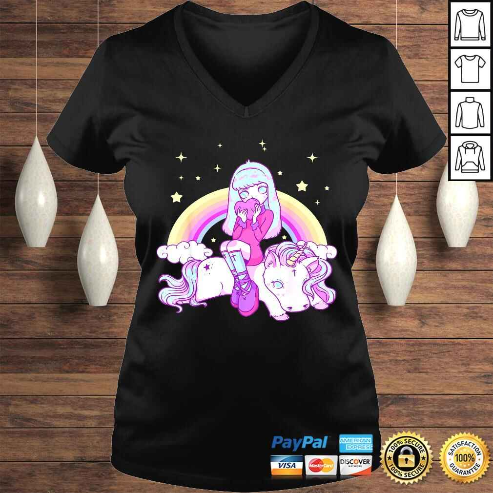 Kawaii Pastel Goth Unicorn Cute Girl Tee Shirt Ladies V-Neck