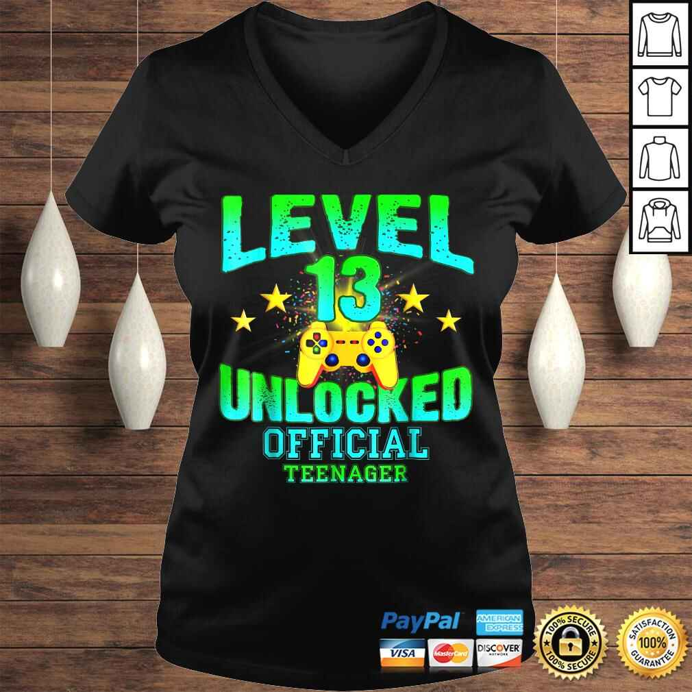 Official Teenager Shirt Level 13 Unlocked Birthday Gifts Ladies V-Neck