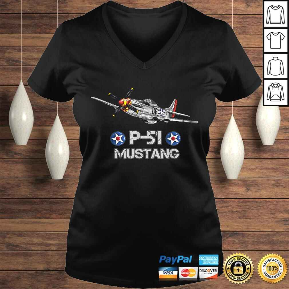 P-51 Mustang Fighter Airplane TShirt Gift Ladies V-Neck