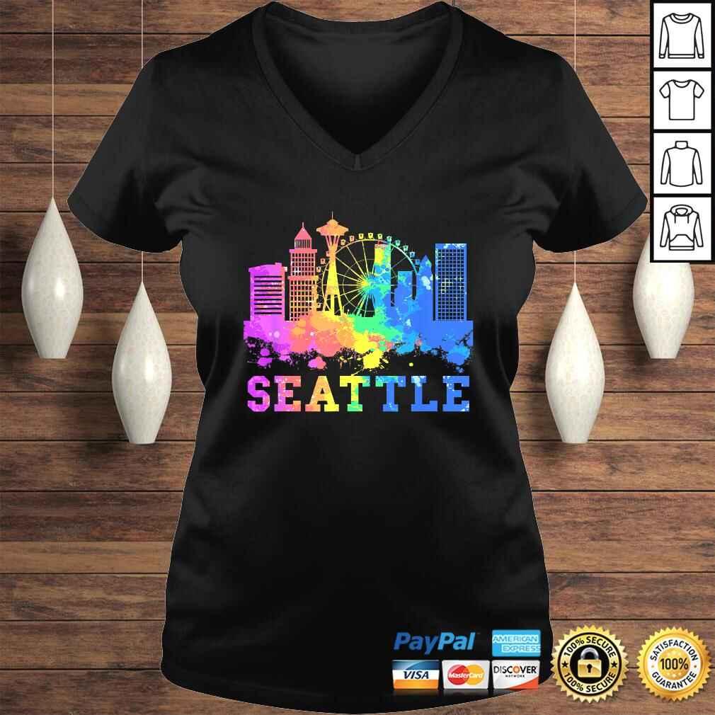 Seattle Washington Skyline Watercolor Souvenir Gift Seattle Gift Top Ladies V-Neck