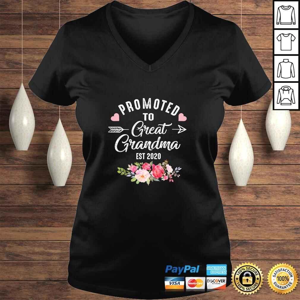 Womens Promoted to Great Grandma Est 2020 Costume Cute Grandma Tee Shirt Ladies V-Neck