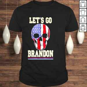 2021 Let's Go Brandon Skull American Flag Skull USA TShirt