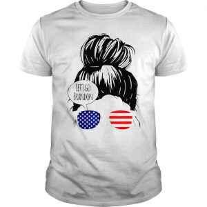 Funny Let's Go Brandon Messy Bun for USA America Flag Shirt
