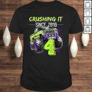 Official Crushing it Since 2016 4th Birthday Monster Truck Gift Boys Tshirt