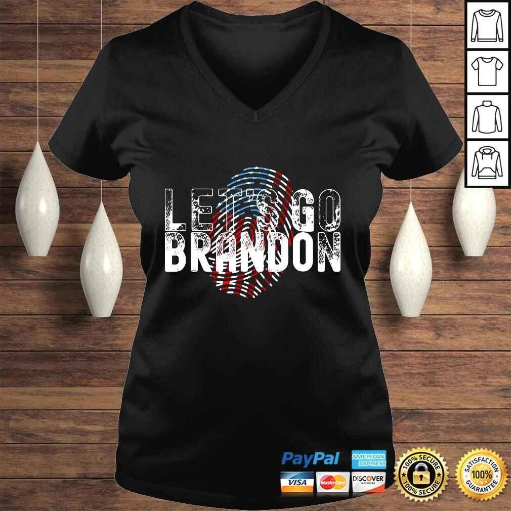 Official Fingerprint American Flag Lets Go Brandon Anti Biden t shirt Ladies V-Neck